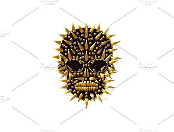 Happy Halloween skull icon gold abst