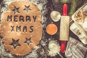 Christmas baking background with