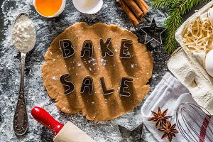Bake sake christmas background with