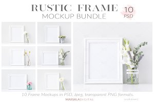 Rustic White Frame Mockup Bundle