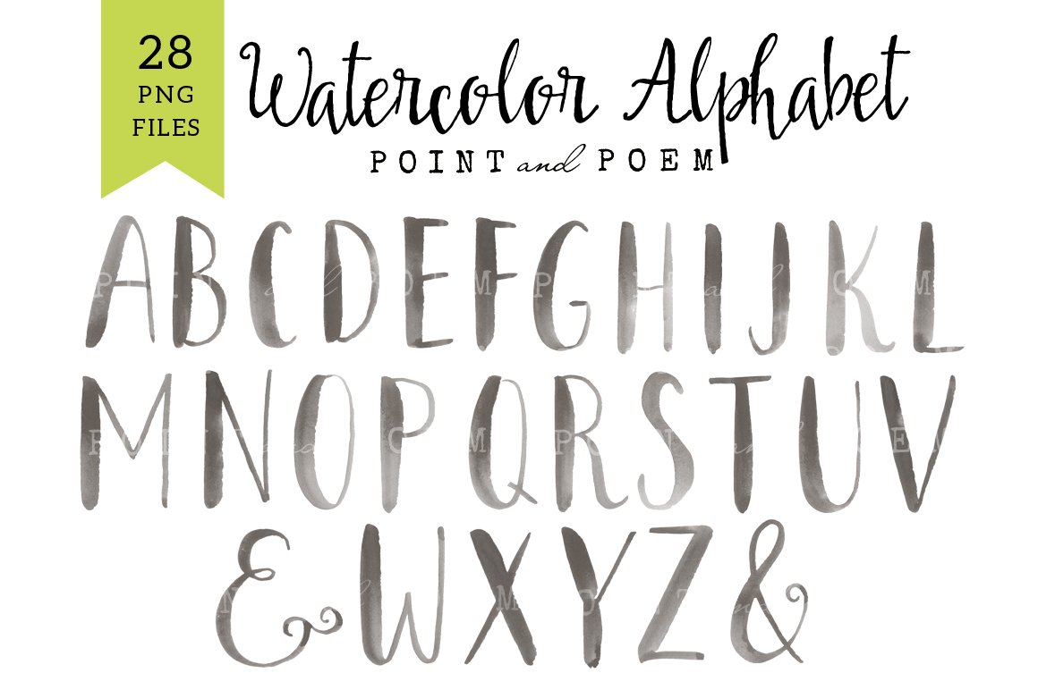 Watercolor Alphabet Clip arts ~ Illustrations ~ Creative