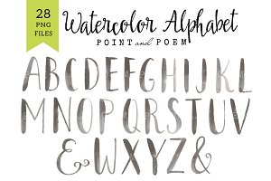 Watercolor Alphabet Clip arts