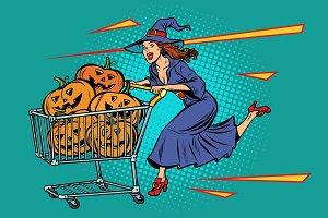 Halloween witch pumpkins. shopping