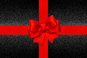 Red ribbon bow shiny black backgroun