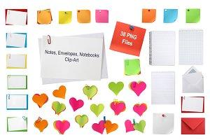 Notes, Envelopes, Notebooks Clip-Art