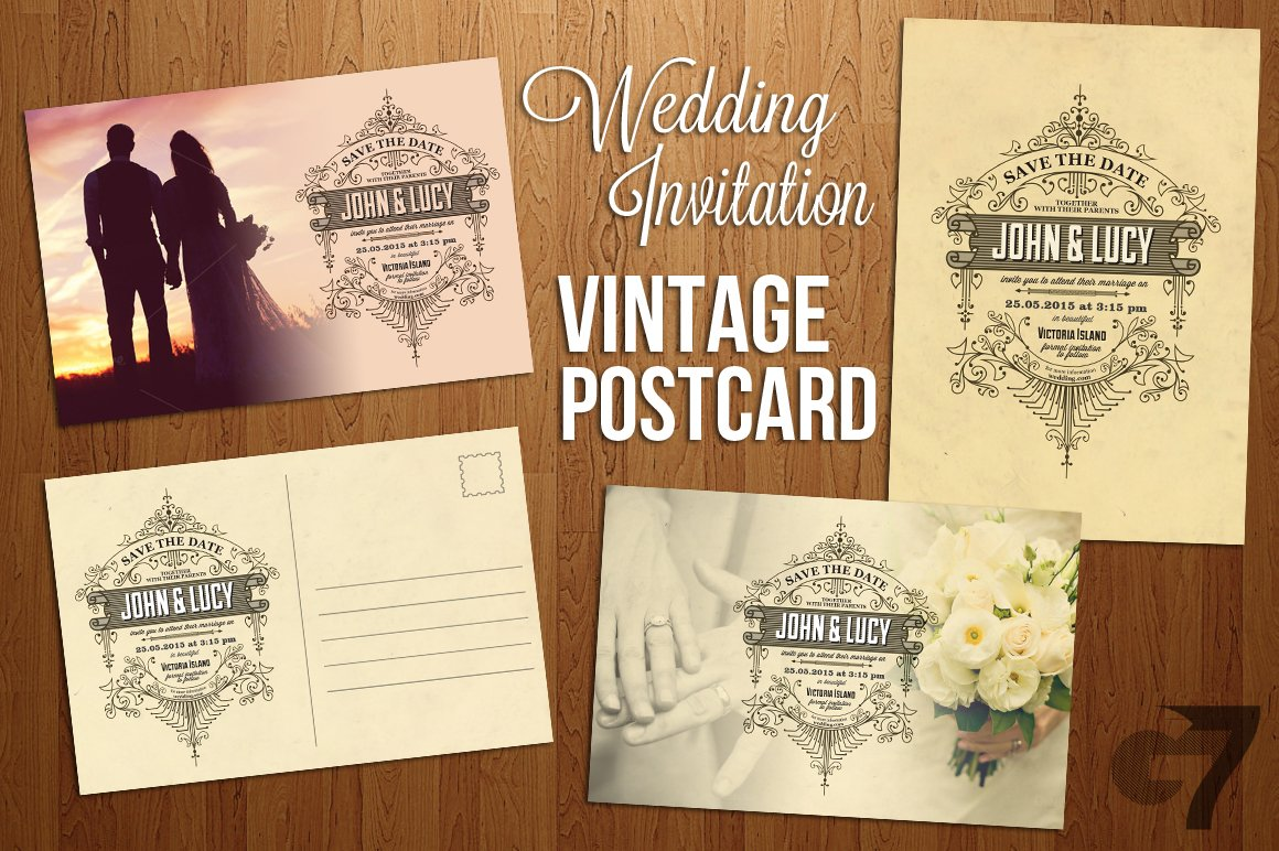wedding invitation vintage postcard invitation templates creative market. Black Bedroom Furniture Sets. Home Design Ideas