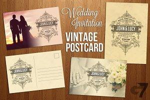 Wedding Invitation Vintage Postcard
