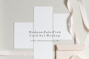 Modern Pale Pink Card Set Mockup