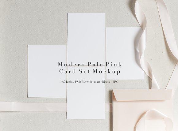 Modern Pale Pink Card Set Mockup