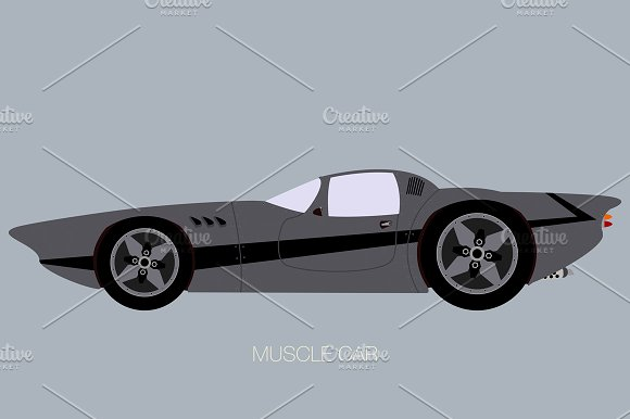 Custom Muscle Car Side View Illustrations Creative Market