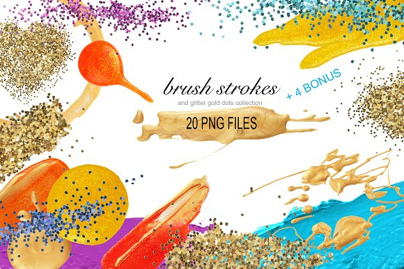 PNG Brush Stokes, Gold Glitter