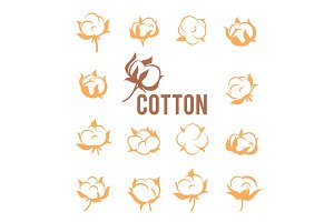 Cotton logos, icons, labels