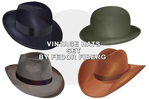 Set of vintage vector hats