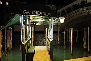Venice Gondolas near Rialto Bridge