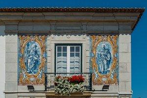 Blue azulejo tiles, Portugal