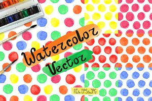 Watercolor Baby pattern. Polka dot