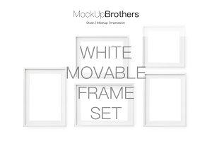 Deep white movable frame set mockup