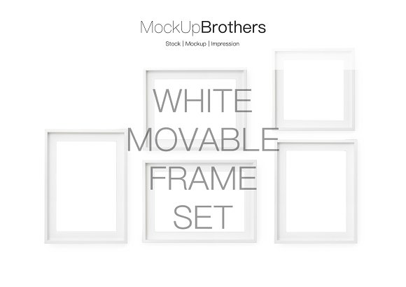 Deep white movable frame set mockup