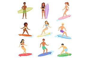 Surf vector people surfing in ocean