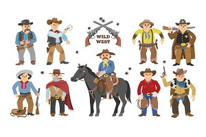 Cowboy vector western cow boy on