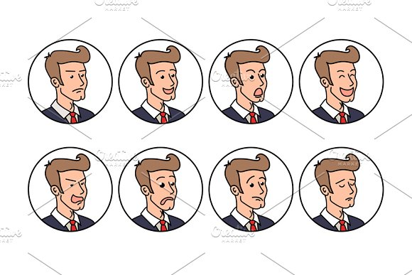 Businessman with different emotions.