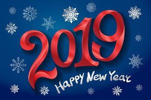2019 Happy New Year. tape Red number