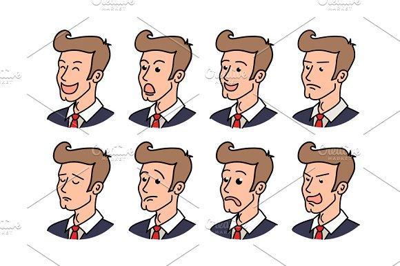 Big set of businessman emoticons.
