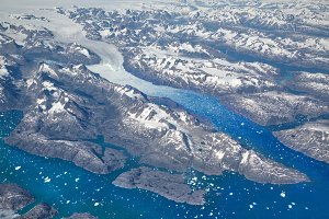 Aerial view of Greenland Glaciers