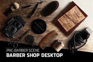 Barber shop desktop - PSD scene