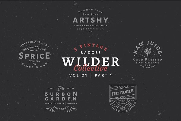 Logo Templates: Wilder Collective - 5 Vintage Badge Logos Vol 01 Part 1