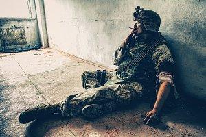 Wounded marine smoking
