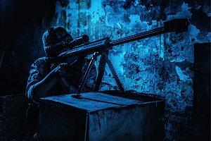 Army sniper at night