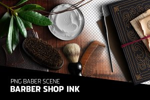 Barber shop ink - PSD scene