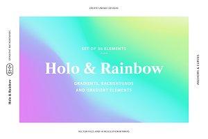 Holo&Rainbow Gradient Background Set