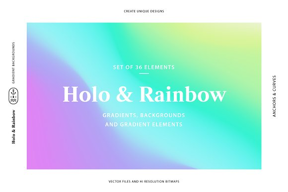 Holo&Rainbow Gradient Background Set