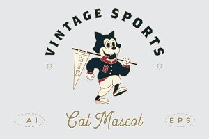 Vintage Sports Cat Mascot