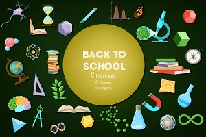 Back to School. Science clipart set.