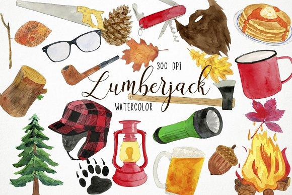 Watercolor Lumberjack Clipart