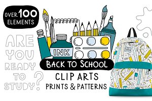 Back to School. Clip arts collection