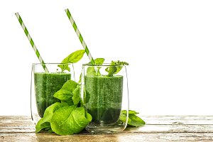 Green spinach leaves smoothie