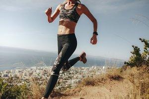 Sportswoman sprinting