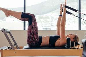Woman doing pilates workout