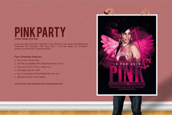 pink party flyer flyer templates creative market