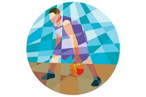 Basketball Player Dribbling Ball Cir