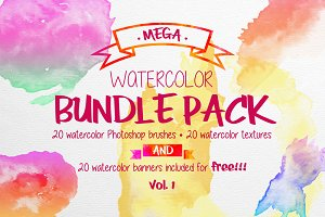 Mega Watercolor Bundle Pack - Vol. 1