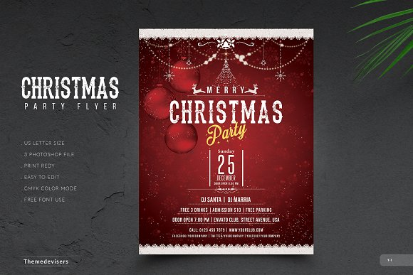 christmas flyer invitation flyer templates creative market