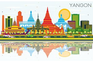Yangon Myanmar City Skyline