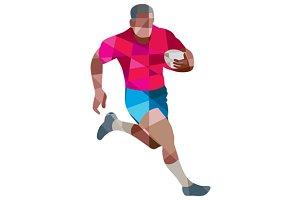 Rugby Player Running Side Low Polygo