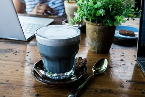 Charcoal latte in a cafe