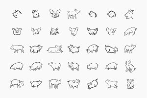 Hand drawn pig icon set